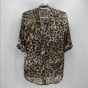 Forever 21 leopard print sheer 3 quarter sleeve